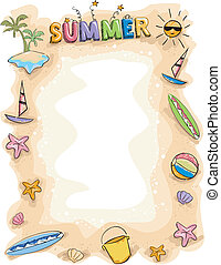 zomer, doodle, achtergrond