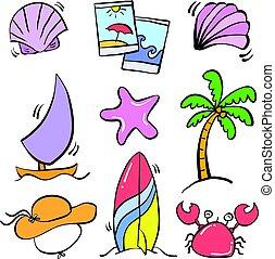 zomer, doodle, vector, kunst, element