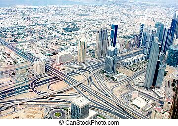 zomer, dubai, verenigd, luchtopnames, downtown, dag, emiraten, arabier, aanzicht