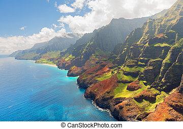 zomer, eiland, kust, pali, kauai, na