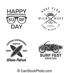 zomer, elements., ontwerp, logo, activity., fun., web, ouderwetse , emblems, hipster, voorbeelden, insignia., surfer, grafiek, print., badges., surfing, surfboard, vector, buitenshuis, templates., of