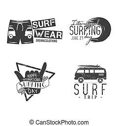 zomer, elements., ontwerp, logo, activity., fun., web, ouderwetse , emblems, hipster, voorbeelden, templates., surfer, grafiek, print., badges., insignias, surfing, surfboard, vector, buitenshuis, of