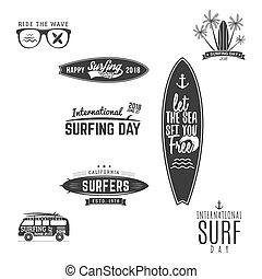 zomer, elements., ontwerp, logo, activity., fun., web, patches, ouderwetse , emblems, hipster, voorbeelden, templates., surfer, grafiek, print., badges., surfing, surfboard, vector, buitenshuis, of