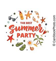 zomer, elements., tekst, flops., tik, zonnebrillen, zand, sunscreen, feestje, cocktail, strand, texture., zeester