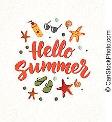 zomer, elements., tekst, tik, zonnebrillen, cocktail, flops., sunscreen, zeester, strand, hallo