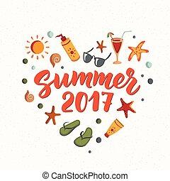 zomer, elements., tekst, tik, zonnebrillen, cocktail, zeester, sunscreen, 2017, afgangen, strand