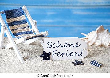 zomer, etiket, met, dekstoel, schoene, ferien, middelen, vrolijke , feestdagen