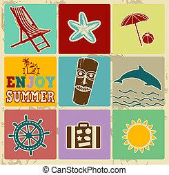 zomer, etiketten, set, ouderwetse