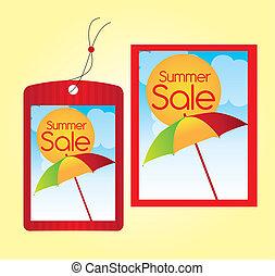 zomer, etiketten, verkoop