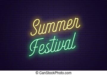 zomer, festival., lettering, tekst, neon, gloeiend