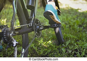 zomer, fiets park, actief, voet pedaal