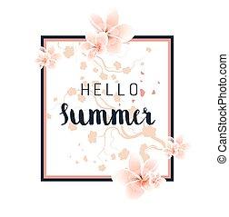 zomer, floral, achtergrond