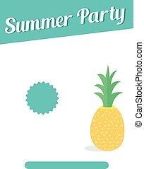 zomer, flyer, ontwerp, feestje