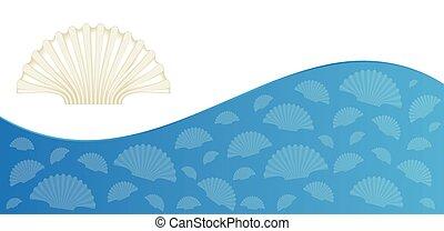 zomer, flyer, ontwerp, zee schalen