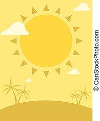 zomer, flyer, ontwerp, zon