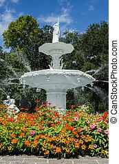 zomer, fontein tuin
