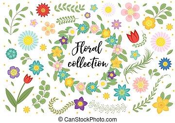 zomer, frame, uitnodiging, ontwerp, kaarten., ruimte, set., vrijstaand, achtergrond., witte , communie, lente, text., verzameling, illustratie, trouwfeest, floral, bloemen, bladeren, groet, vector, of