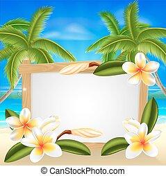 zomer, frangipani, strand voorteken
