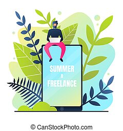 zomer, freelance, vector, illustration., poster