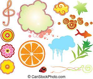 zomer, funky, communie, ontwerp