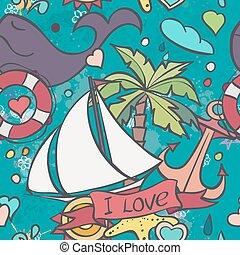 zomer, gekleurde, textuur, vector, zee, doodles