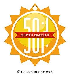 zomer, gevormd, zon, verkoop, etiket, korting