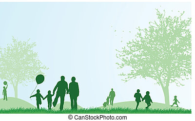 zomer, gezin, buitenshuis