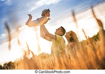 zomer, gezin, natuur, uitgeven, samen, tijd