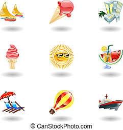 zomer, glanzend, iconen
