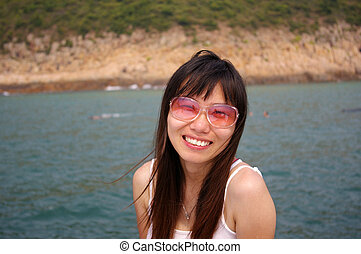 zomer, glimlachende vrouw, zonnebrillen, aziaat