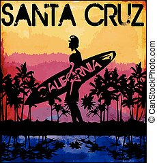 zomer, grafisch, florida, tee, ontwerp, californië