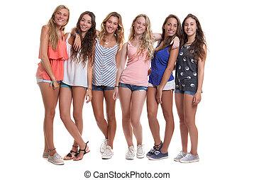 zomer, groep, gezonde , tieners, het glimlachen, gelooide