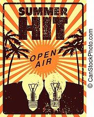 zomer, grunge, illustration., straatfeest, lucht, vector, ...