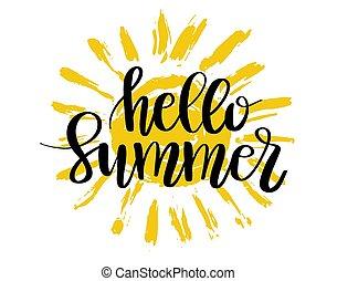 zomer, hallo, lettering
