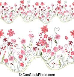 zomer, helder, model, seamless, stylized, flowers., borstel,...