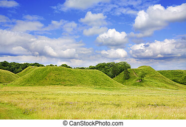 zomer, heuvel, groene