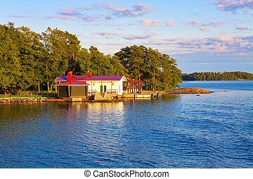 zomer, huisje, in, finland