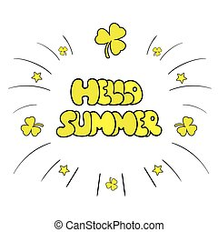 zomer, illustratie, hand, achtergrond., sketchy, vector, getrokken, hallo