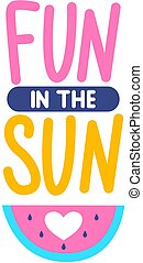 zomer, illustration., plezier, vector, sun., modieus, kaart, watermelon.