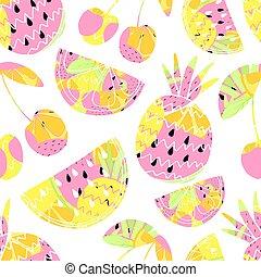 zomer, illustration., schattig, model, seamless, achtergrond., vector, fruits.