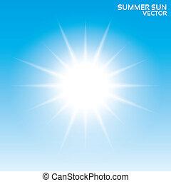zomer, illustration., sky., zon, achtergrond., vector