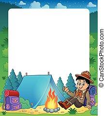 zomer, jongen, frame, 1, thema, verkenner