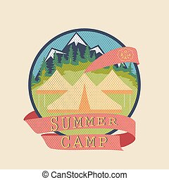zomer kamp, badge, avontuur