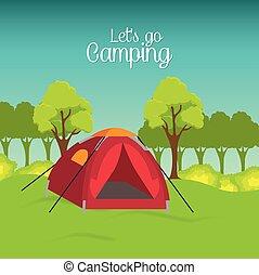 zomer, kamperen, en, reizen