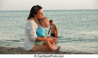 zomer, kind, strand, moeder