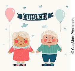 zomer, kinderen, vrienden, met, baloons