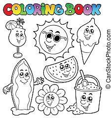 zomer, kleurend boek, afbeeldingen