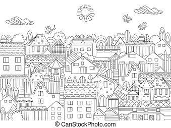 zomer, kleurend boek, cityscape, jouw, vrolijke