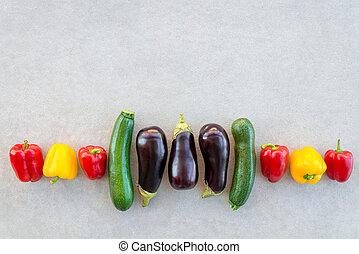 zomer, kleurrijke, groentes, beton, achtergrond, roeien