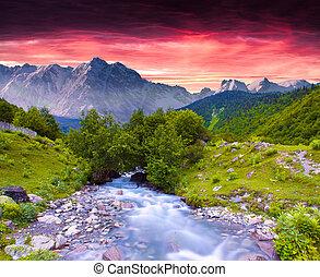 zomer, kleurrijke, reusachtig, ondergaande zon , rivier,...